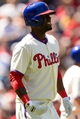 Aug 25, 2013; Philadelphia, PA, USA; Philadelphia Phillies right fielder Delmon Young (3) reacts to being hit by a pitch during the first inning against the Arizona Diamondbacks at Citizens Bank Park. Mandatory Credit: Howard Smith-USA TODAY Sports