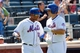 Aug 25, 2013; New York, NY, USA; New York Mets catcher Travis d'Arnaud (15) celebrates with center fielder Juan Lagares (12) after hitting a home run during the fourth inning against the Detroit Tigers at Citi Field. Mandatory Credit: Anthony Gruppuso-USA TODAY Sports