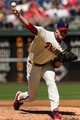 Aug 25, 2013; Philadelphia, PA, USA; Philadelphia Phillies pitcher Roy Halladay (34) delivers to the plate during the third inning against the Arizona Diamondbacks at Citizens Bank Park. Mandatory Credit: Howard Smith-USA TODAY Sports