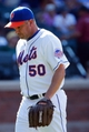 Aug 25, 2013; New York, NY, USA;  New York Mets relief pitcher Scott Atchison (50) heads to the dugout during the ninth inning against the Detroit Tigers at Citi Field. Detroit won 11-3.  Mandatory Credit: Anthony Gruppuso-USA TODAY Sports