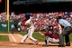Aug 25, 2013; Philadelphia, PA, USA; Philadelphia Phillies center fielder Roger Bernadina (3) hits a two RBI double during the sixth inning against the Arizona Diamondbacks at Citizens Bank Park. The Phillies defeated the Diamondbacks 9-5. Mandatory Credit: Howard Smith-USA TODAY Sports