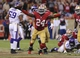Aug 25, 2013; San Francisco, CA, USA; San Francisco 49ers running back Anthony Dixon celebrates after scoring a touchdown against the Minnesota Vikings during the fourth quarter at Candlestick Park. The San Francisco 49ers defeated the Minnesota Vikings 34-14. Mandatory Credit: Kelley L Cox-USA TODAY Sports