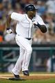 Aug 21, 2013; Detroit, MI, USA; Detroit Tigers right fielder Torii Hunter (48) runs towards first against the Minnesota Twins at Comerica Park. Mandatory Credit: Rick Osentoski-USA TODAY Sports