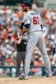 Aug 22, 2013; Detroit, MI, USA; Minnesota Twins relief pitcher Jared Burton (61) pitches against the Detroit Tigers at Comerica Park. Mandatory Credit: Rick Osentoski-USA TODAY Sports