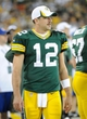 Aug 23, 2013; Green Bay, WI, USA;  Green Bay Packers quarterback Aaron Rodgers (12) during the game against the Seattle Seahawks at Lambeau Field. Mandatory Credit: Benny Sieu-USA TODAY Sports