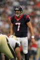 Aug 25, 2013; Houston, TX, USA; Houston Texans quarterback Case Keenum (7) yells against the New Orleans Saints during the second half at Reliant Stadium. The Saints won 31-23. Mandatory Credit: Thomas Campbell-USA TODAY Sports