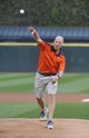 Aug 28, 2013; Chicago, IL, USA;  Illinois Fighting Illini head basketball coach John Groce throws out the ceremonial first pitch before the game between the Chicago White Sox and the Houston Astros at U.S. Cellular Field.  Mandatory Credit: David Banks-USA TODAY Sports