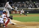 Aug 28, 2013; Chicago, IL, USA; Houston Astros first baseman Chris Carter (23)  hits a double against the Chicago White Sox during the second inning at U.S. Cellular Field.  Mandatory Credit: David Banks-USA TODAY Sports