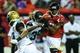Aug 29, 2013; Atlanta, GA, USA; Jacksonville Jaguars running back De'Leon Eskridge (39) breaks up a pass intended for Atlanta Falcons wide receiver Darius Johnson (13) in the second quarter at the Georgia Dome. Mandatory Credit: Daniel Shirey-USA TODAY Sports