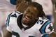 Aug 29, 2013; Charlotte, NC, USA; Carolina Panthers running back DeAngelo Williams (34) laughs on the sidelines during the fourth quarter during the game against the Pittsburgh Steelers at Bank of America Stadium. The Panthers defeated the Steelers 25-10. Mandatory Credit: Jeremy Brevard-USA TODAY Sports