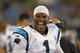 Aug 29, 2013; Charlotte, NC, USA; Carolina Panthers quarterback Cam Newton (1) laughs on the sidelines during the fourth quarter against the Pittsburgh Steelers at Bank of America Stadium. The Panthers defeated the Steelers 25-10. Mandatory Credit: Jeremy Brevard-USA TODAY Sports