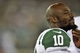 Aug 29, 2013; East Rutherford, NJ, USA; New York Jets wide receiver Santonio Holmes (10) looks on against the Philadelphia Eagles during the second half of a preseason game at Metlife Stadium. The Jets won 27-20. Mandatory Credit: Joe Camporeale-USA TODAY Sports