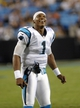 Aug 29, 2013; Charlotte, NC, USA; Carolina Panthers quarterback Cam Newton (1) looks on as his team forces a safety during the game against the Pittsburgh Steelers at Bank Of America Stadium. Panthers win 25-10. Mandatory Credit: Sam Sharpe-USA TODAY Sports