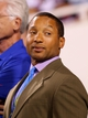 Aug 29, 2013; Orchard Park, NY, USA; Buffalo Bills general manager Doug Whaley watches the game against the Detroit Lions at Ralph Wilson Stadium.  The Lions won 35-13.   Mandatory Credit: Timothy T. Ludwig-USA TODAY Sports
