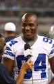 Aug 29, 2013; Arlington, TX, USA; Dallas Cowboys defensive end DeMarcus Ware (94) smiles while he gives an interview during the second half against the Houston Texans at AT&T Stadium. Mandatory Credit: Matthew Emmons-USA TODAY Sports