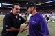 Aug 29, 2013; St. Louis, MO, USA; St. Louis Rams head coach Jeff Fisher shakes hands with Baltimore Ravens head coach John Harbaugh after a game at Edward Jones Dome. St. Louis defeated Baltimore 24-21. Mandatory Credit: Jeff Curry-USA TODAY Sports