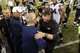 Aug 29, 2013; Seattle, WA, USA; Seattle Seahawks head coach Pete Carroll and Oakland Raiders head coach Dennis Allen hug after the game at CenturyLink Field. Seattle defeated Oakland 22-6. Mandatory Credit: Steven Bisig-USA TODAY Sports