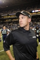 Aug 29, 2013; Seattle, WA, USA; Oakland Raiders head coach Dennis Allen after the game against the Seattle Seahawks at CenturyLink Field. Seattle defeated Oakland 22-6. Mandatory Credit: Steven Bisig-USA TODAY Sports