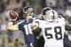 Aug 29, 2013; Seattle, WA, USA; Seattle Seahawks quarterback Brady Quinn (10) passes against the Oakland Raiders during the third quarter  at CenturyLink Field. Mandatory Credit: Joe Nicholson-USA TODAY Sports