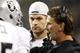 Aug 29, 2013; Seattle, WA, USA; Oakland Raiders quarterback Matt Flynn (15) listens to a coach during a fourth quarter timeout against the Seattle Seahawks at CenturyLink Field. Mandatory Credit: Joe Nicholson-USA TODAY Sports