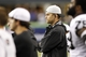 Aug 29, 2013; Seattle, WA, USA; Oakland Raiders quarterback Matt Flynn (15) watches from the sideline  during the fourth quarter against the Seattle Seahawks at CenturyLink Field. Mandatory Credit: Joe Nicholson-USA TODAY Sports