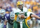 Aug 30, 2013; Manhattan, KS, USA; North Dakota State Bison quarterback Brock Jensen (16) hands off the ball during first-half action against the Kansas State Wildcats at Bill Snyder Family Stadium. Mandatory Credit: Scott Sewell-USA TODAY Sports