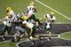 Aug 30, 2013; Manhattan, KS, USA; North Dakota State Bison quarterback Brock Jensen (16) makes a pass during a 24-21 win against the Kansas State Wildcats at Bill Snyder Family Stadium. Mandatory Credit: Scott Sewell-USA TODAY Sports