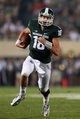 Aug 30, 2013; East Lansing, MI, USA; Michigan State Spartans quarterback Connor Cook (18) scrambles from pockets against the Western Michigan Broncos during 2nd  half of a game at Spartan Stadium. MSU won 26-13.   Mandatory Credit: Mike Carter-USA TODAY Sports