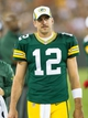 Aug 23, 2013; Green Bay, WI, USA; Green Bay Packers quarterback Aaron Rodgers (12) during the game against the Seattle Seahawks at Lambeau Field.  Seattle won 17-10.  Mandatory Credit: Jeff Hanisch-USA TODAY Sports