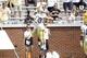 Aug 31, 2013; Atlanta, GA, USA; Georgia Tech Yellow Jackets running back Robert Godhigh (25) and running back Zach Laskey (37) celebrate a touchdown against the Elon Phoenix in the third quarter at Bobby Dodd Stadium. Georgia Tech defeated Elon 70-0. Mandatory Credit: Brett Davis-USA TODAY Sports