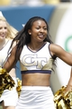 Aug 31, 2013; Atlanta, GA, USA; Georgia Tech Yellow Jackets cheerleader performs against the Elon Phoenix in the second quarter at Bobby Dodd Stadium. Mandatory Credit: Brett Davis-USA TODAY Sports