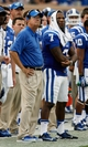 Aug 31, 2013; Durham, NC, USA; Duke Blue Devils head coach David Cutcliffe and quarterback Anthony Boone (7) watch a field goal attempt in their game against the North Carolina Central Eagles at Wallace Wade Stadium. Mandatory Credit: Mark Dolejs-USA TODAY Sports