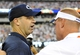Aug 31, 2013; East Rutherford, NJ, USA; Penn State Nittany Lions head coach Bill O'Brien (left) and Syracuse Orange head coach Scott Shafer (right) meet at half field following the game at MetLife Stadium.  Penn State defeated Syracuse 23-17.  Mandatory Credit: Rich Barnes-USA TODAY Sports