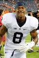 Aug 31, 2013; East Rutherford, NJ, USA; Penn State Nittany Lions wide receiver Allen Robinson (8) jogs off the field following the game against the Syracuse Orange at MetLife Stadium.  Penn State defeated Syracuse 23-17.  Mandatory Credit: Rich Barnes-USA TODAY Sports
