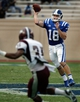 Aug 31, 2013; Durham, NC, USA; Duke Blue Devils quarterback Brandon Connette (18) passes to a receiver against the North Carolina Central Eagles at Wallace Wade Stadium. Mandatory Credit: Mark Dolejs-USA TODAY Sports