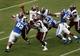 Aug 31, 2013; Durham, NC, USA; North Carolina Central Eagles quarterback Jordan Reid (8) passes against the Duke Blue Devils defense at Wallace Wade Stadium. Mandatory Credit: Mark Dolejs-USA TODAY Sports