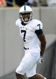 Aug 31, 2013; East Rutherford, NJ, USA; Penn State Nittany Lions wide receiver Geno Lewis (7) reacts following his touchdown during the third quarter against the Syracuse Orange at MetLife Stadium.  Penn State defeated Syracuse 23-17.  Mandatory Credit: Rich Barnes-USA TODAY Sports