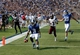 Aug 31, 2013; Durham, NC, USA; Duke Blue Devils wide receiver Jamison Crowder (3) scores a touchdown past North Carolina Central Eagles wide receiver Phillip Barren (13) at Wallace Wade Stadium. Mandatory Credit: Mark Dolejs-USA TODAY Sports