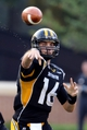 Aug 31, 2013; Hattiesburg, MS, USA; Southern Miss Golden Eagles quarterback Allan Bridgford (16) makes a throw in the second quarter against the Texas State Bobcats at M.M. Roberts Stadium. Mandatory Credit: Chuck Cook-USA TODAY Sports