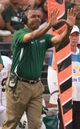 Aug 31, 2013; Troy, AL, USA;  UAB Blazers head coach Garrick McGee reacts to his teams play during the game against the Troy Trojans at Veterans Memorial Stadium. Mandatory Credit: Marvin Gentry-USA TODAY Sports