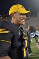 Aug 31, 2013; Columbia, MO, USA; Missouri Tigers quarterback James Franklin (1) talks to media after the game against the Murray State Racers at Faurot Field. Missouri won 58-14. Mandatory Credit: Denny Medley-USA TODAY Sports