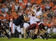 Aug 31, 2013; Auburn, AL, USA; Washington State Cougars quarterback Connor Halliday (12) passes the ball during the second half against the Auburn Tigers at Jordan Hare Stadium. The Tigers defeated the Cougars 31-24. Mandatory Credit: Shanna Lockwood-USA TODAY Sports
