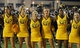 Aug 31, 2013; Hattiesburg, MS, USA; The Southern Miss Golden Eagles cheerleaders sing the alma mater at the end of the football game against the Texas State Bobcats at M.M. Roberts Stadium.Texas State won 22-15. Mandatory Credit: Chuck Cook-USA TODAY Sports