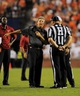 Aug 31, 2013; Auburn, AL, USA;  Washington State Cougars head coach Mike Leach talks with referees during the second half against the Auburn Tigers at Jordan Hare Stadium. The Tigers defeated the Cougars 31-24. Mandatory Credit: Shanna Lockwood-USA TODAY Sports