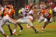 Aug 31, 2013; Clemson, SC, USA; Georgia Bulldogs running back Todd Gurley (3) carries the ball during the fourth quarter against the Clemson Tigers at Clemson Memorial Stadium. Tigers won 38-35. Mandatory Credit: Joshua S. Kelly-USA TODAY Sports