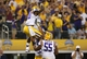 Aug 31, 2013; Arlington, TX, USA; LSU Tigers receiver Jarvis Landry (80) celebrates a touchdown with guard Vadal Alexander (78) and center Elliott Porter (55) against Texas Christian Horned Frogs in the fourth quarter at AT&T Stadium. Mandatory Credit: Matthew Emmons-USA TODAY Sports