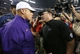 Aug 31, 2013; Arlington, TX, USA; LSU Tigers head coach Les Miles meets with Texas Christian Horned Frogs head coach Gary Patterson after the game at AT&T Stadium. The LSU Tigers beat the TCU Horned Frogs 37-27. Mandatory Credit: Matthew Emmons-USA TODAY Sports