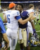 Aug 31, 2013; Seattle, WA, USA; Boise State Broncos quarterback Joe Southwick (16) and Washington Huskies quarterback Keith Price (17) hug after the game between the Washington Huskies and the Boise State Broncos at Husky Stadium. Washington defeated Boise State 38-6. Mandatory Credit: Steven Bisig-USA TODAY Sports