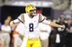 Aug 31, 2013; Arlington, TX, USA; LSU Tigers quarterback Zach Mettenberger (8) celebrates a first down in the fourth quarter of the game against the TCU Horned Frogs at Cowboys Stadium. Mandatory Credit: Tim Heitman-USA TODAY Sports