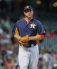 Sep 1, 2013; Houston, TX, USA; Houston Astros starting pitcher Brett Oberholtzer (65) walks off the mound during the third inning against the Seattle Mariners at Minute Maid Park. Mandatory Credit: Troy Taormina-USA TODAY Sports